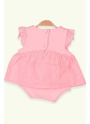 Breeze Kız Bebek Zıbın Elbise Çiçekli Somon (6 Ay-2 Yaş) Somon